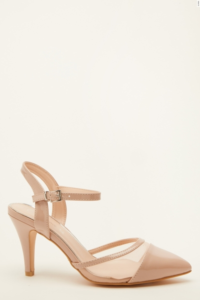 Wide Fit Nude Patent Mesh Courts